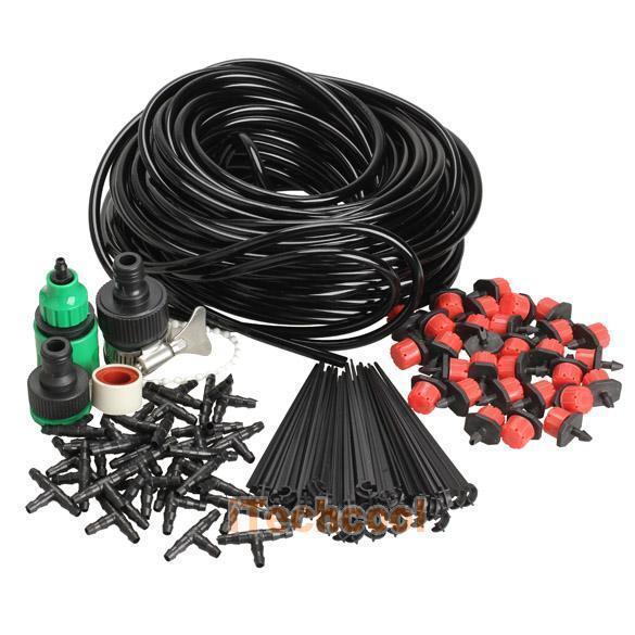 25m DIY Micro Drip Irrigation System Plant Self Watering Garden Hose Kits #T1K