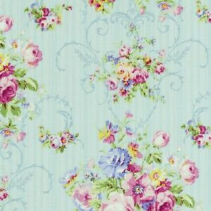 Cottage-Shabby-Chic-Lecien-Rococo-amp-Sweet-Floral-Fabric-31860L-70-Sky-BTY