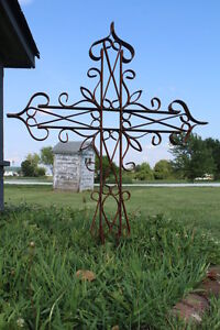 Details About Wrought Iron Small Cross Yard Symbol Garden Stake