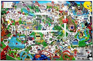 Park Map Six Flags Great America 2006 Rare Poster Sized 33x22