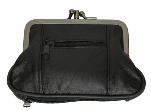 Black Genuine Leather Woman/'s double frame Large coin purse Change 2 Clasp