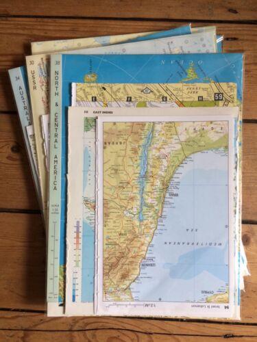 Vintage Mapa páginas//piezas materiales efímeros Papel Pack Scrapbooking basura diario de 25 piezas
