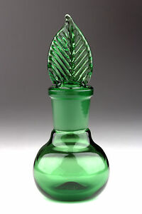 Blown-Glass-Perfume-Bottle-with-Ground-Stopper-Green-Handmade