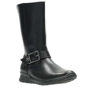 Botas Uk de 2 cuero Clarks Star media a Up Girls Jnr pierna estrenar Zip negro Mariel a 88CwHP