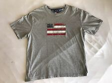 Vtg Tommy Hilfiger Embroidered American Flag Gray T Shirt XXL