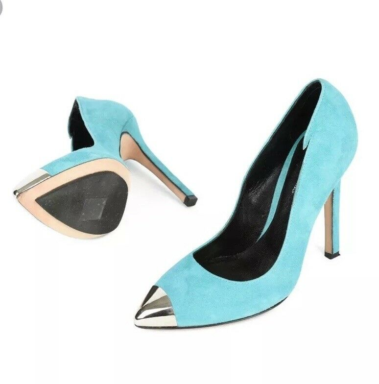 Tania Spinelli Metal Cap Toe Suede Pumps Aqua bluee High Heel Pointed