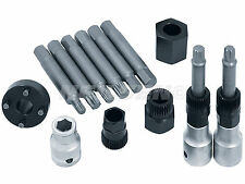 13 Piece Automotive Alternator Bits Set with Pulley Connectors - hex spline star