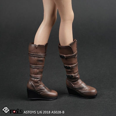 1//6 Female Long Boots High heels Shoes Model Fit 12/'/' Removable Feet Figure