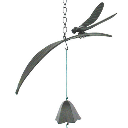 Japanese Furin Wind Chime Iron Iwachu Dragonfly on Leaf Lily Bell Made in Japan