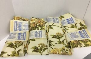 Vintage-New-Old-Stock-Drapery-Panels-Beautiful-Pale-Yellow-Floral-Print-24-X84