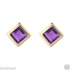 Girls 9ct Yellow Gold 5mm Small Round Amethyst Studs Earrings Mum/'s B/'Day GIFT