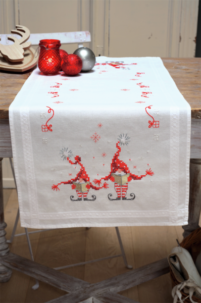 Christmas Gnomes Diy.Vervaco Table Runner Stitch Embroidery Kit Christmas Gnomes Stamped Diy For Sale Online Ebay
