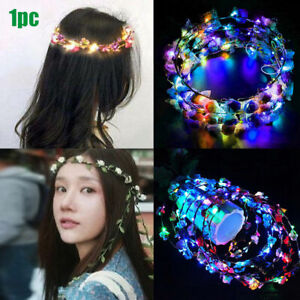 Glowing-Crown-Flower-Headband-Girls-Party-LED-Light-Up-Wreath-Garland-Hairband