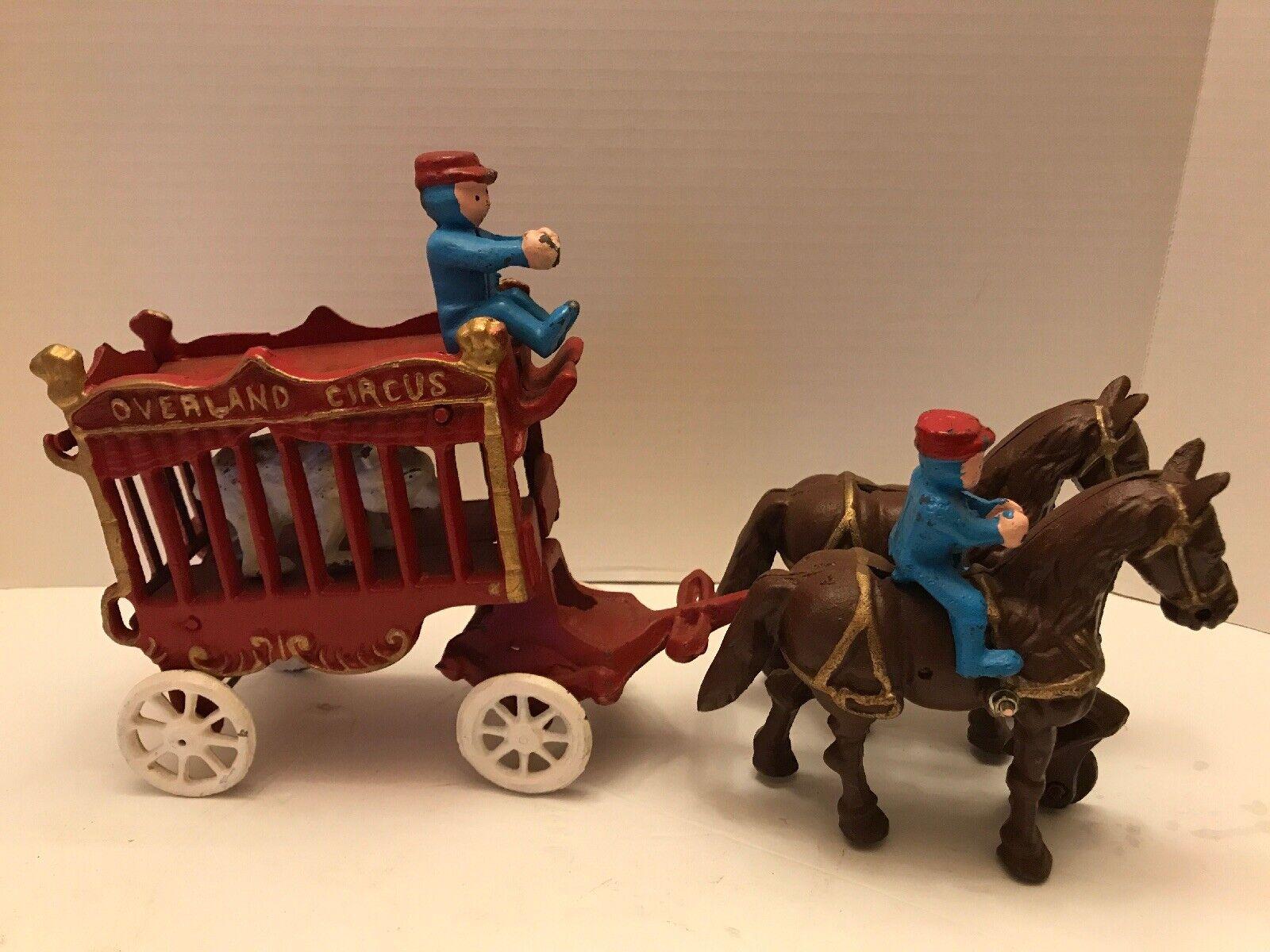 Vintage Cast Iron Overland Circus Wagon w/ Polar Bear & Riders
