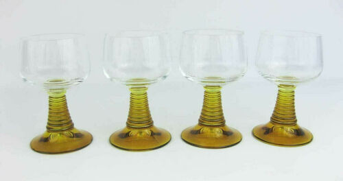 """5.5/"""" Tall 4 Vintage German Roemer Amber Wine Glasses Goblets Beehive Stems"""