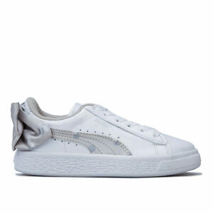 Details about Children Girls Puma Basket Bow Dots Trainers In White Silver-  Elasticated Laces