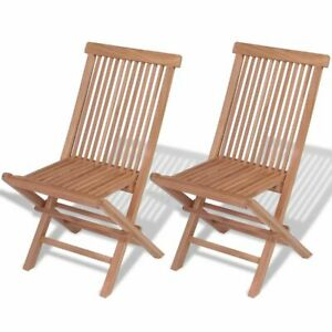 vidaXL-2x-Patio-Teak-Folding-Chairs-Wood-Outdoor-Bistro-Garden-Seating-Seat