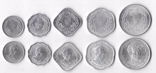 MYANMAR BURMA - 5 DIF UNC COINS SET: 1 - 50 PYAS 1966 YEAR