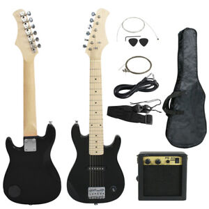 30 kids black electric guitar with amp much more guitar combo accessory kit 700161267631 ebay. Black Bedroom Furniture Sets. Home Design Ideas
