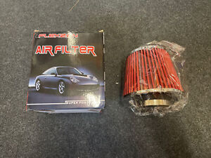 Red Easy Fit Universal Car Sport Cold Air Filter To Fit 7.5 Cm Pipe