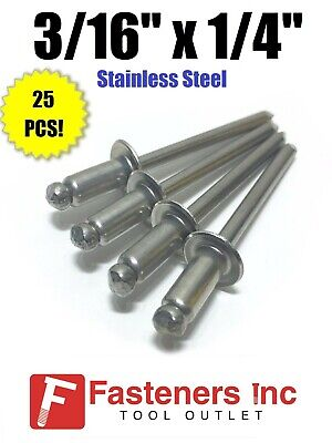 "QTY 250 POP Rivets ALL Steel 6-4 3//16/"" x 1//4/"" Grip Range Zinc Plated"