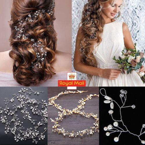Bridal Headpiece Pearls Crystal Long Hair Vine Headband Hairband Wedding Party