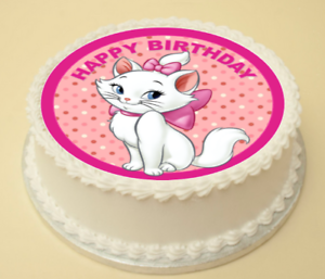 Outstanding Cute Cat Happy Birthday Cake Cupcake Topper Ribbon Wafer Paper Personalised Birthday Cards Paralily Jamesorg