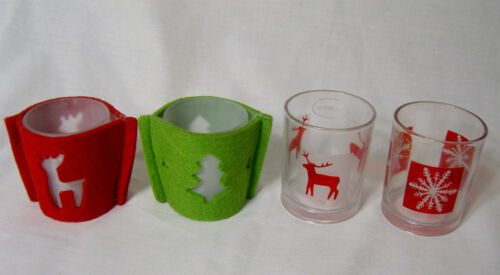 XMAS Christmas Tea Light Votive Candle Glass Holders Reindeer Tree Frost Motive