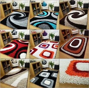 Small Large Thick Soft Rug Modern Shaggy Non Shed Rugs Brown Teal