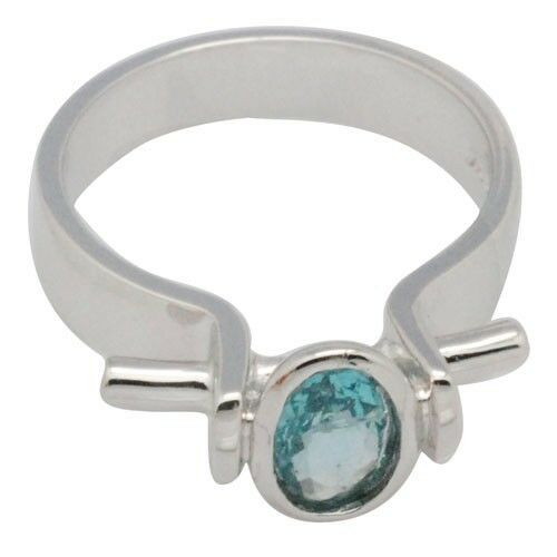 De Buman 0.83ctw Genuine Apatite 925 Sliver Ring Size 7