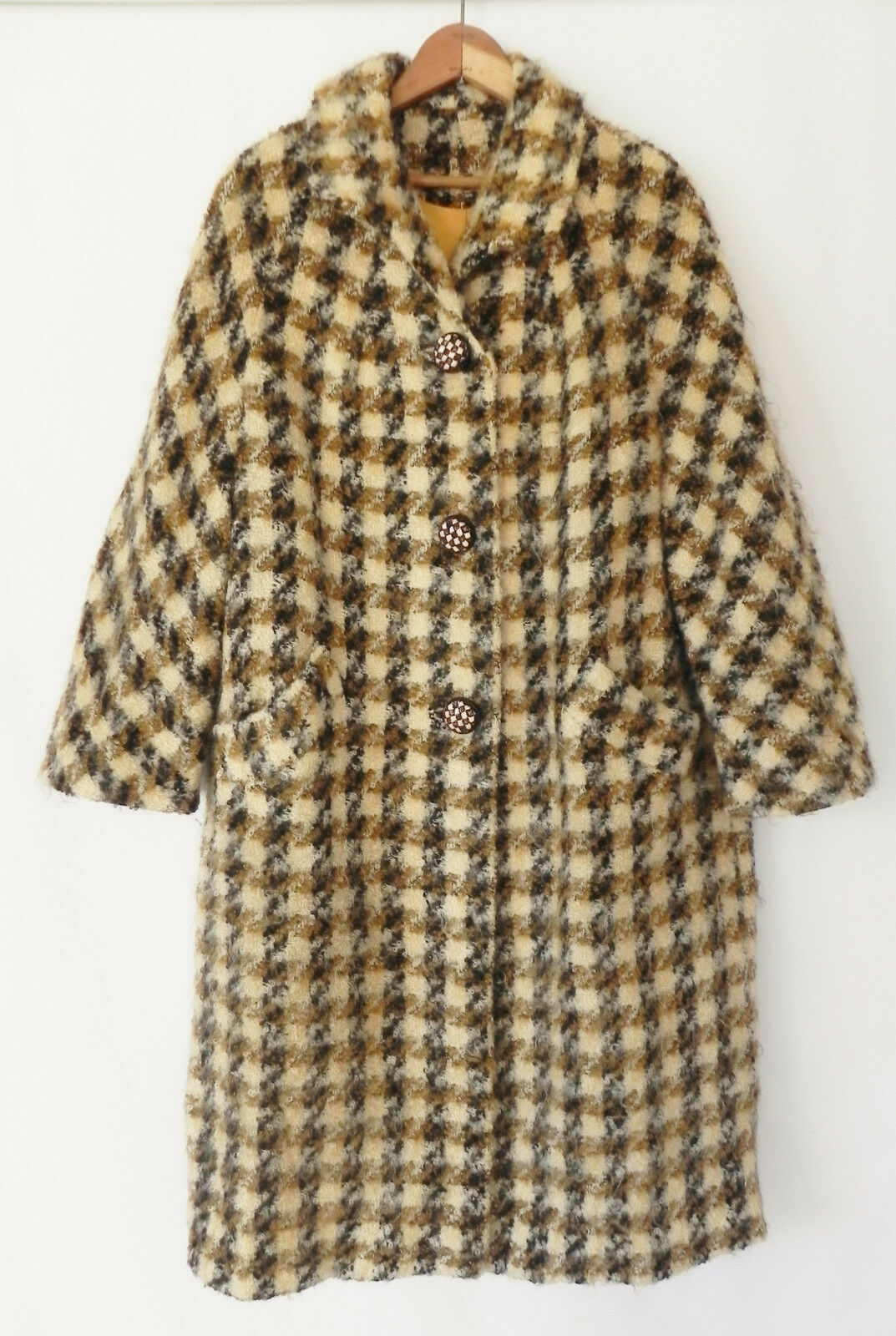 Vtg Wool Woven Coat Multi-color Mid- Calf 3 4 Sleeve Size L