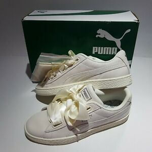 competitive price c351e 3ca23 Details about New with Box PUMA Basket Heart NS Women's White Leather Bow  sz 11