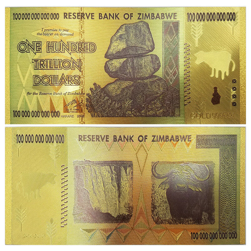 2008 Zimbabwe 100 Trillion Banknote Gold Bill World Money Value Collection Gift