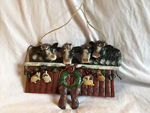 COW-amp-FARM-ANIMALS-3D-Metal-Door-Wall-Hanging-Christmas-Theme-12-034-X-8-034-NWT