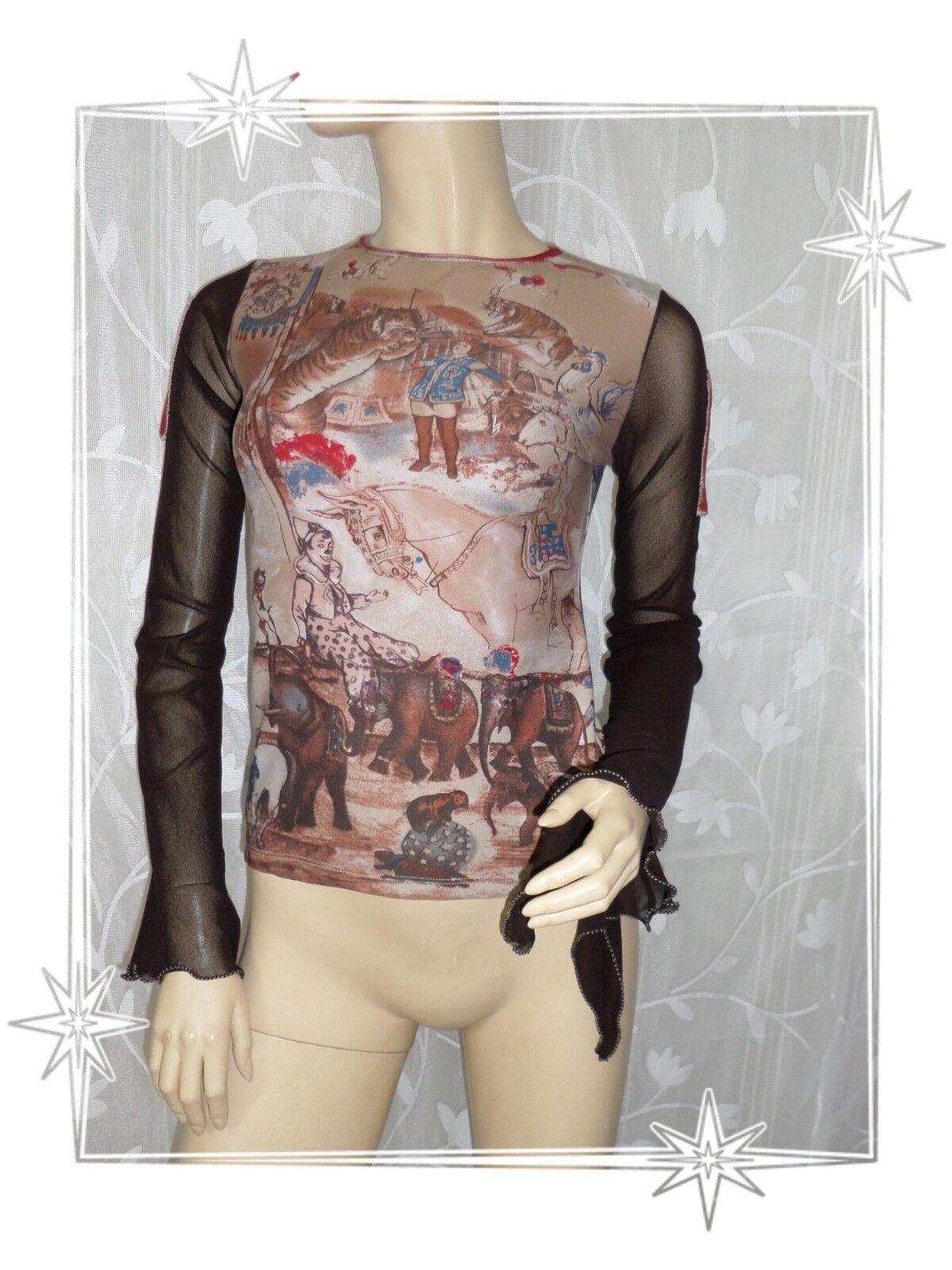 B -  Haut T-shirt  Fantaisie Bi Matière  brown Cirque  Save The Queen size M