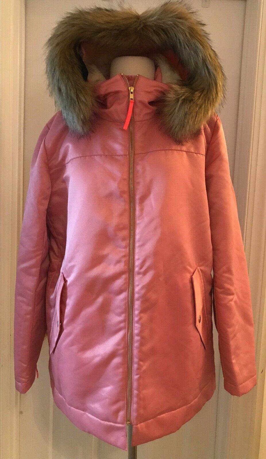 J.CREW PINK PARKA WITH QUILTED LINING SIZE M PINK POODLE H2223 WINTER COAT