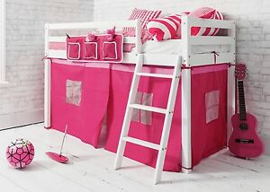 Image is loading Cabin-Bed-Shorty-Mid-Sleeper-in-White-with- & Cabin Bed Shorty Mid Sleeper in White with PINK Tent 2u00276 Ontario ...
