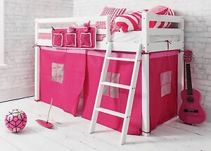 Cabin Bed Shorty Mid Sleeper In White With Pink Tent 2 6 Ontario