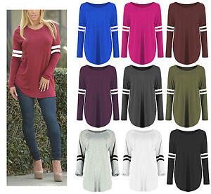 0577a80e6f7 Womens Oversized Baseball Stripe Curved Hem Dress Long Sleeve Sporty ...