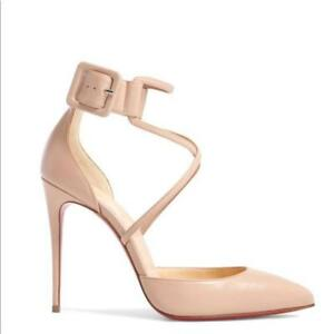 6031749a4d51 Image is loading Christian-Louboutin-SUZANNA-Crisscross-Ankle-Strap-Pumps- Heels-