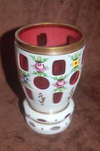Antique-Vintage-White-Cut-To-Cranberry-Bohemian-Glass-Vase-Hand-Painted