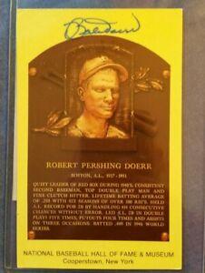 Robert Doerr Boston Red Sox 1937-51 Hall Of Fame Autograph postcard