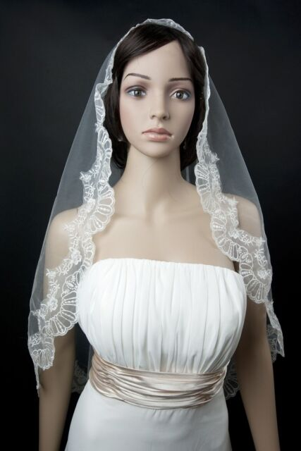 Bridal Wedding Mantilla Veil  Ivory 1 Tier Long Cathedral Length With Lace Edge