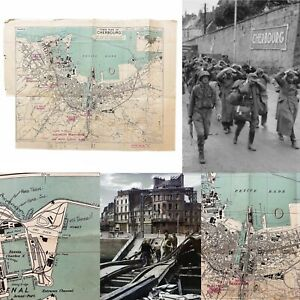 WWII-1943-3rd-Edition-D-Day-039-Invasion-and-Liberation-039-France-Cherbourg-Map-Relic