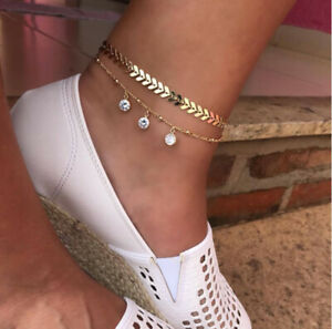 2pcs Fashion Ladies Anklet Gold Charm Ankle Chain Bracelet Foot Sandal New.