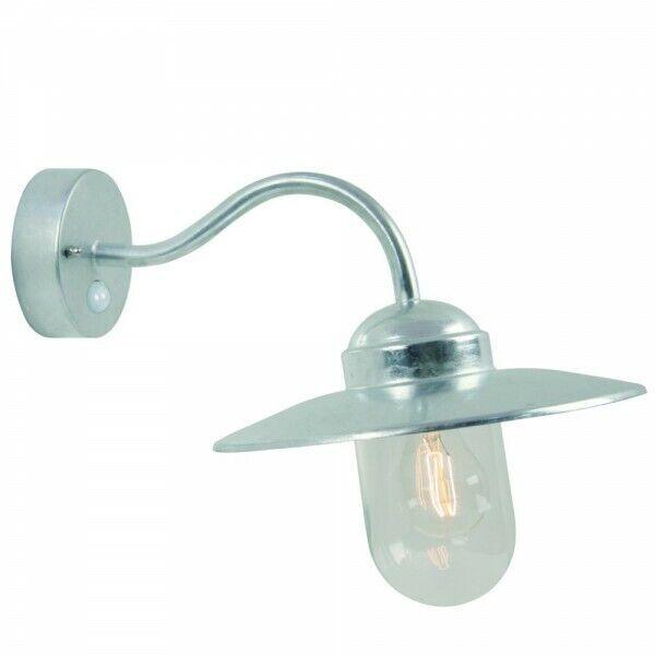 Outdoor sensor wall light galvanized garden lamp lantern with detector new 8996