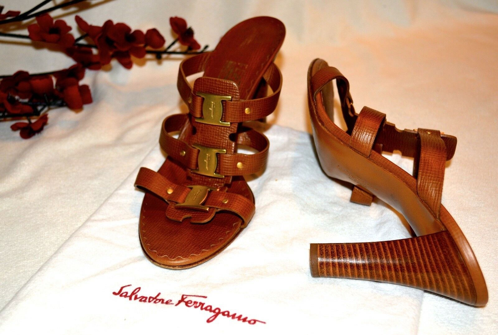 Salvatore Ferragamo marron Leather Open Open Open Toe Slides Mules c2f8da
