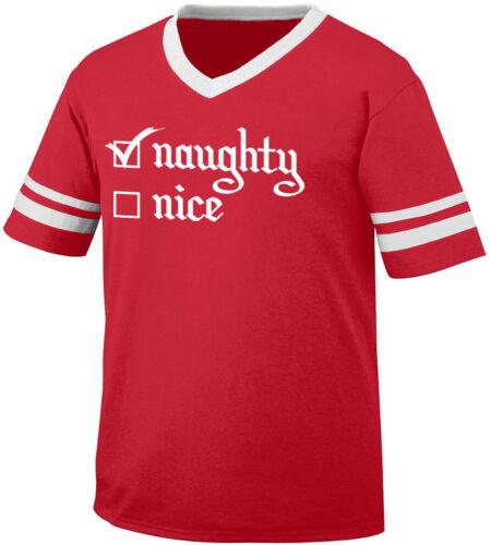 Naughty Nice List Checkbox Checked Bad Santa Christmas Men/'s V-Neck Ringer Tee