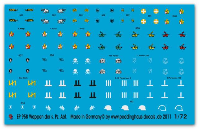 1/72 Wappen der schw. Pz Abt des Heeres & der Elite 958