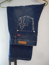 """New American Royalty Capri Jeans size 14 Stretch Faded Destroyed 36""""Waist 21""""Ins"""